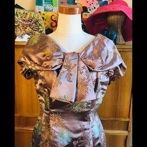 VNTG 50s Brocade Wiggle Dress Dressmaker Pin-Up !